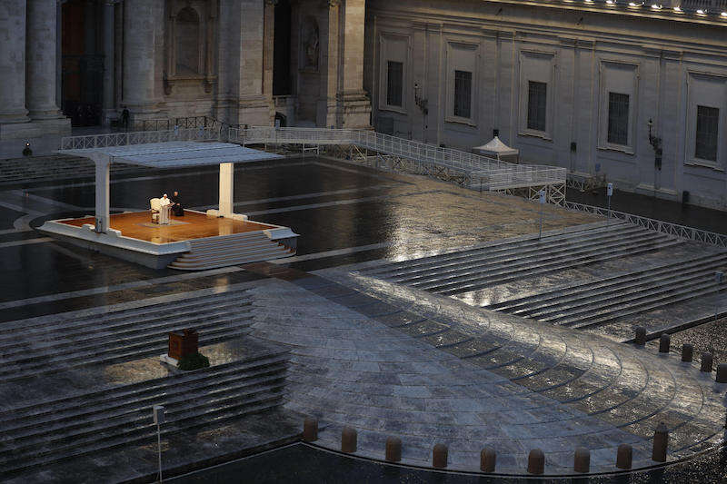 "Pope Francis delivers an extraordinary ""Urbi et Orbi"" (to the city and the world) blessing - normally given only at Christmas and Easter - from an empty St. Peter's Square, as a response to the global coronavirus disease (COVID-19) pandemic, at the Vatican, March 27, 2020. ANSA/ REUTERS/ YARA NARDI/ POOL"